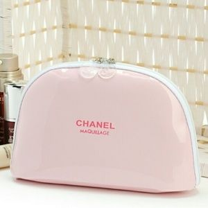 NEW CHANEL Pink Patent Leather Logo Makeup Pouch